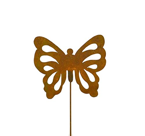 Oregardenworks Outdoor Garden Decor, Rusty Metal Yard Art, Butterfly Garden Stake