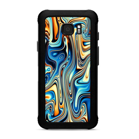 Skin for Samsung Galaxy S7 Active Skins Decal Vinyl Wrap Stickers Cover - blue orange psychadelic oil slick