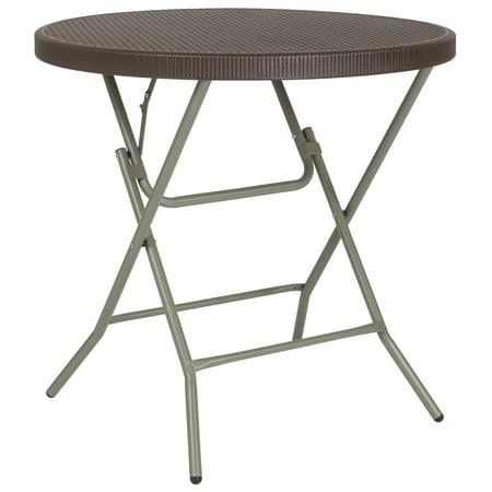 Flash Furniture 3-Foot Round Brown Rattan Plastic Folding Table
