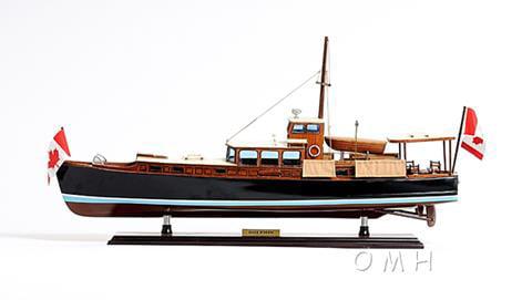 Model Boat Dolphin Painted Wood Base Western Red Cedar New OM-41 by Old Modern Handicraft Inc