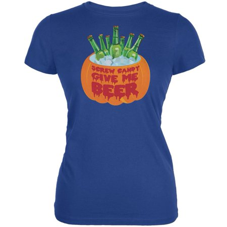 Halloween Screw Candy Give Me Beer Royal Juniors Soft T-Shirt (Ideas To Give Out For Halloween)