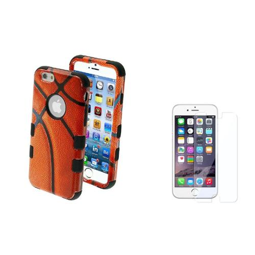 Insten Basketball-Sports/Black Hybrid Hard Case+Protector For Apple iPhone 6S 6 4.7""
