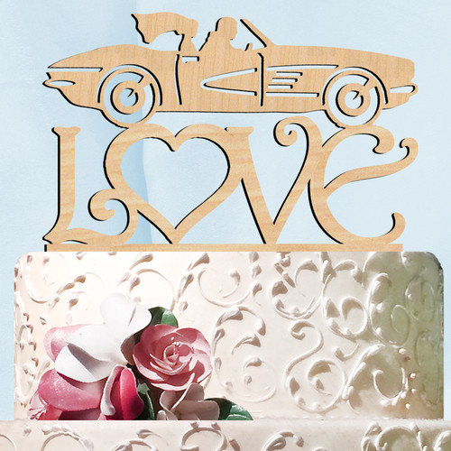 aMonogram Art Unlimited Sports Car Love Wooden Cake Topper