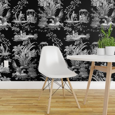 Peel and Stick Removable Wallpaper Toile Chinoiserie Asian Black And W