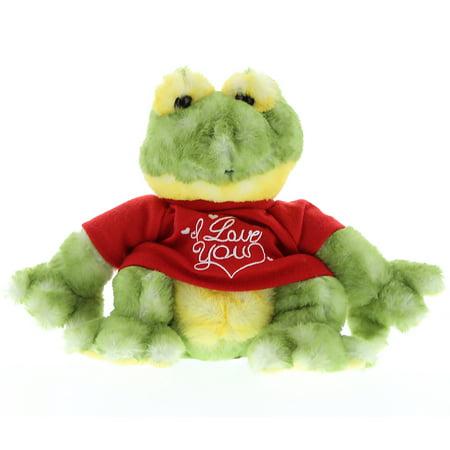 Super Soft Plush Dollibu Cute Green Frog I Love You Shirt Valentines Plush ()