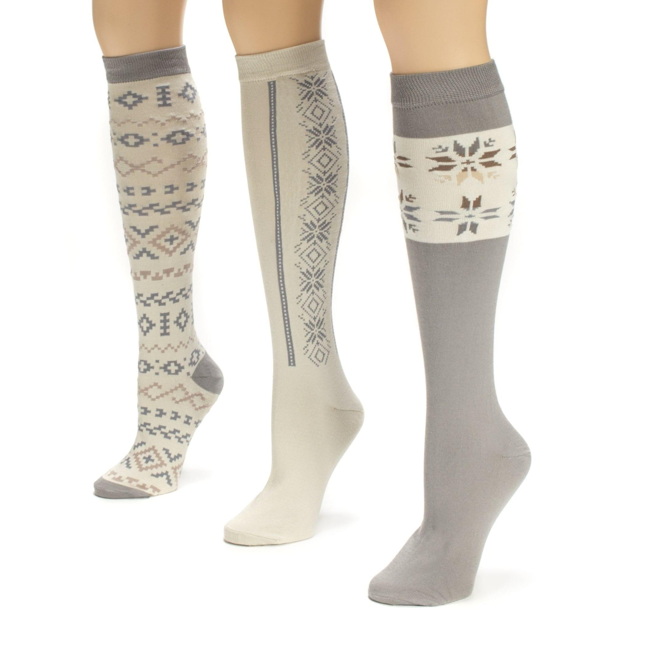 Women's Winter White Knee High Socks (3 Pair)