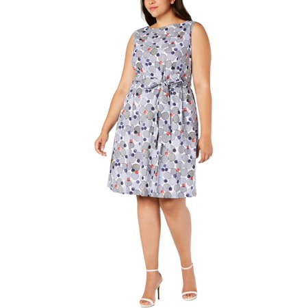 Anne Klein Womens Polka Dot Embroidered Scuba Dress Jointed Cotton Women Dresses