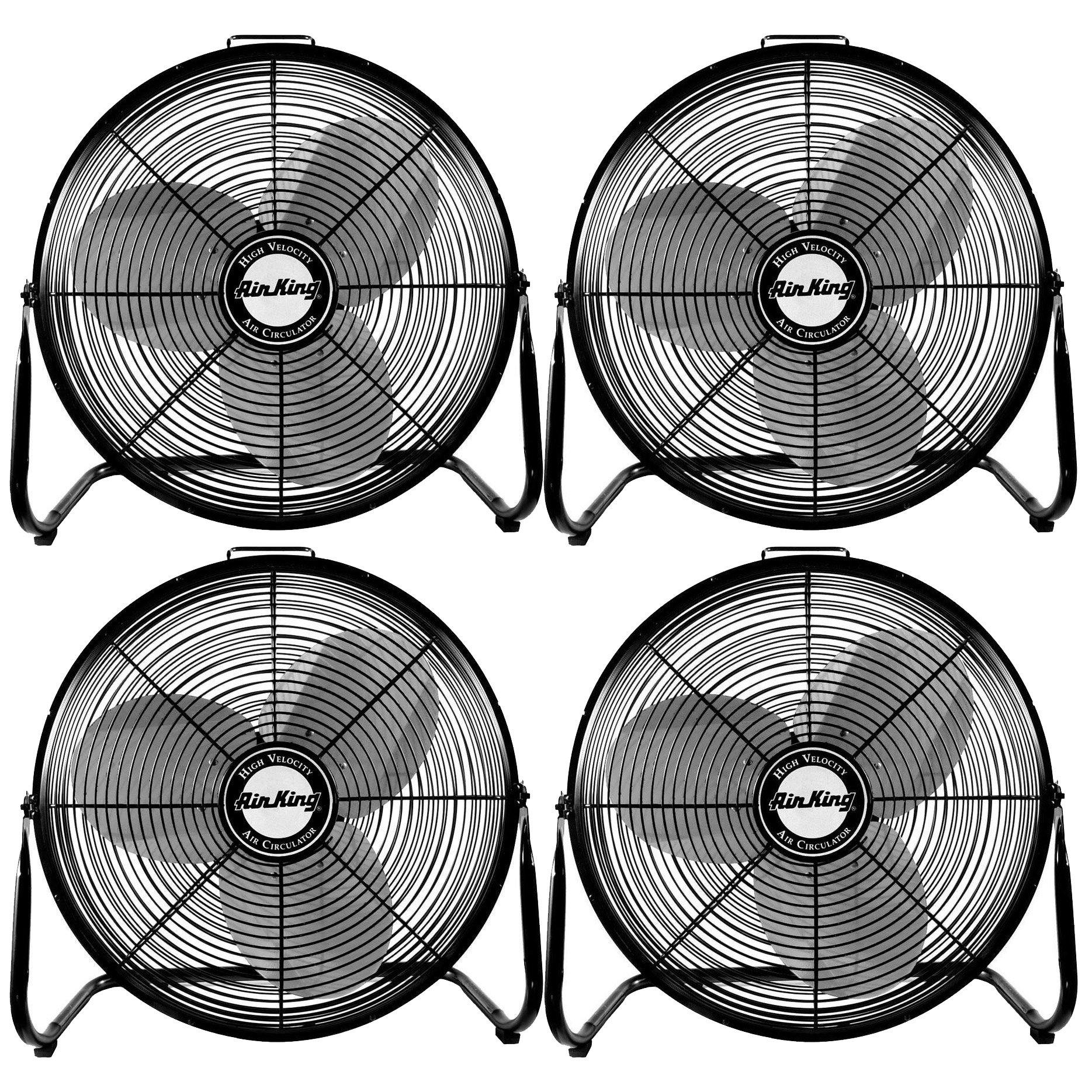 "Air King 18"" 1/6 HP 3 Speed Heavy Duty Portable Industrial Floor Fan (4 Pack)"