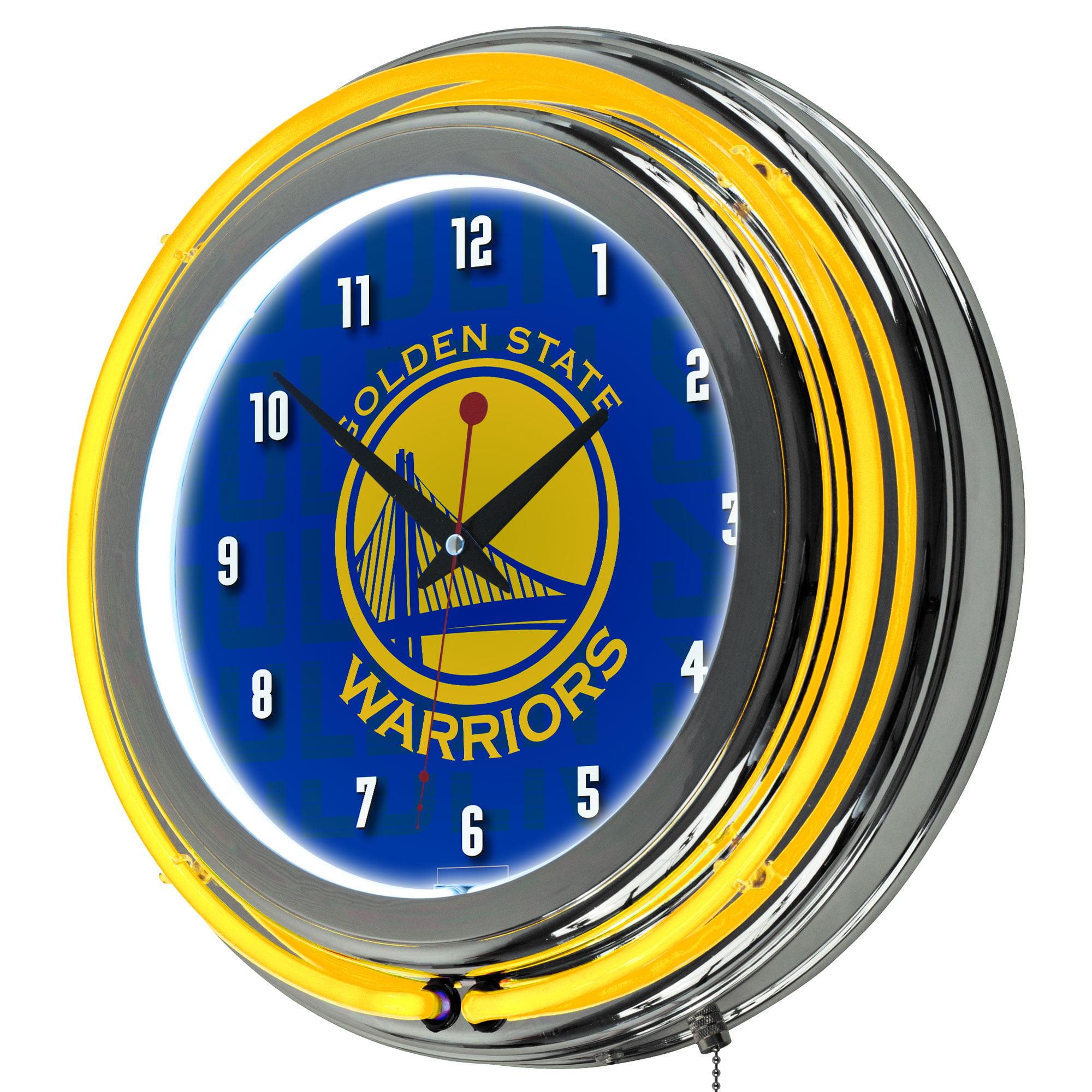NBA Chrome Double Rung Neon Clock - Golden State Warriors