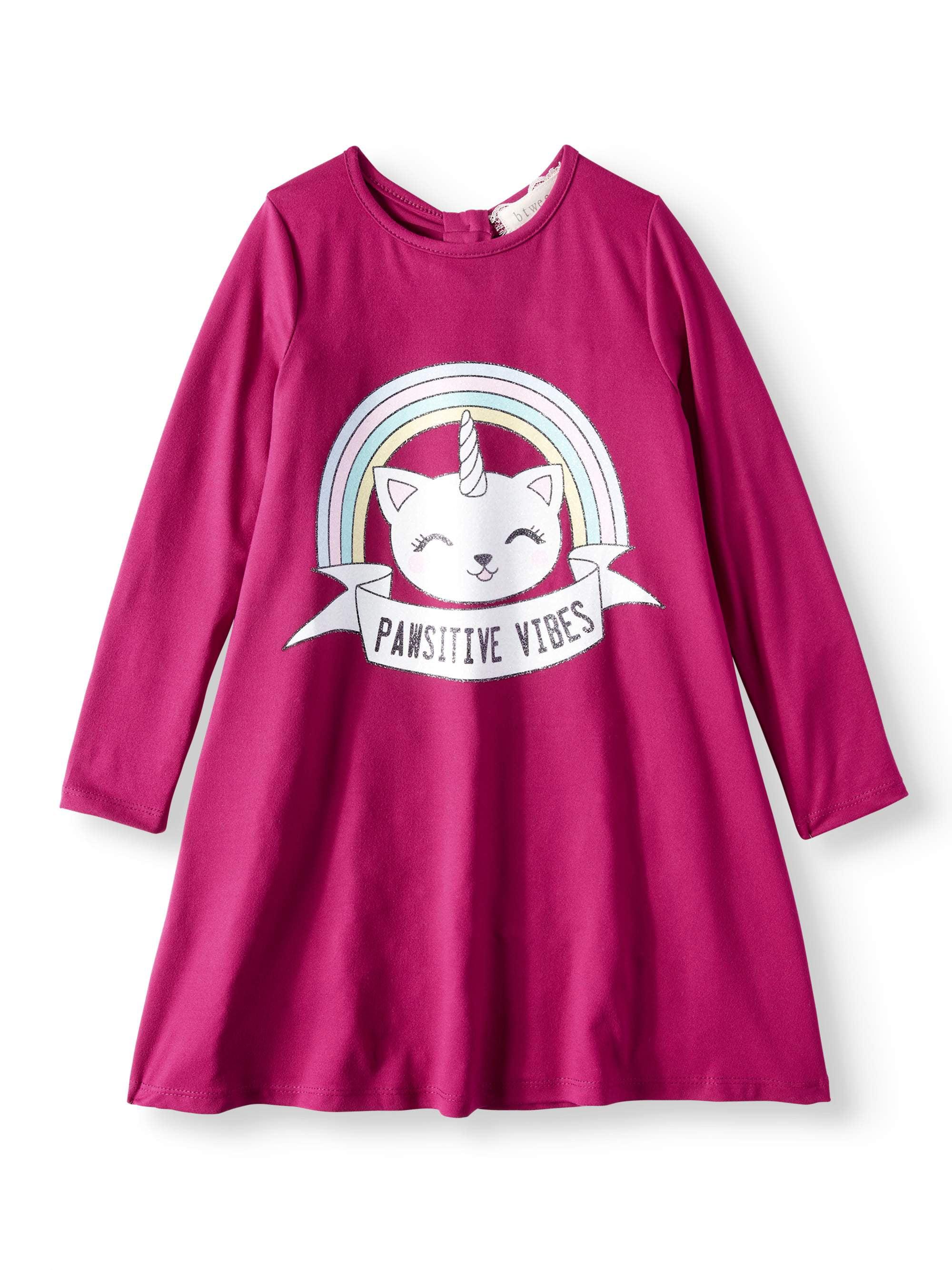 Uni-Kitty Long Sleeve Jersey Dress (Little Girls)