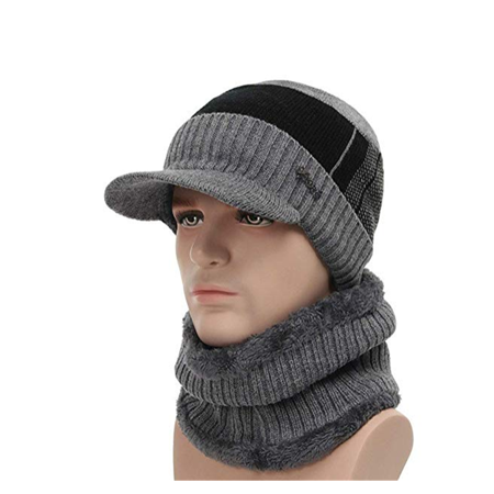 Cashmere Lined Hat - 2-Pieces Winter Beanie Hat Scarf Set Warm Knit Hat Thick Fleece Lined Winter Hat & Scarf For Men Women