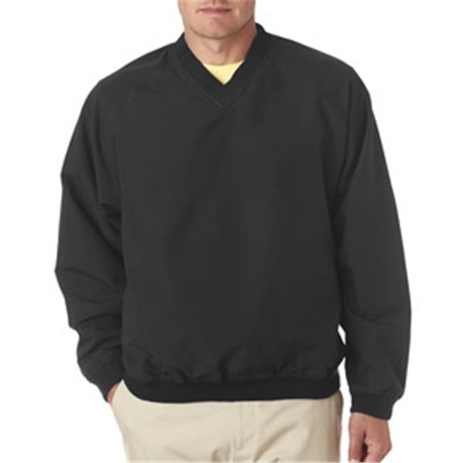 UltraClub 8926 Adult Long-Sleeve Microfiber Crossover V-Neck Windshirt - Black & Black, Large