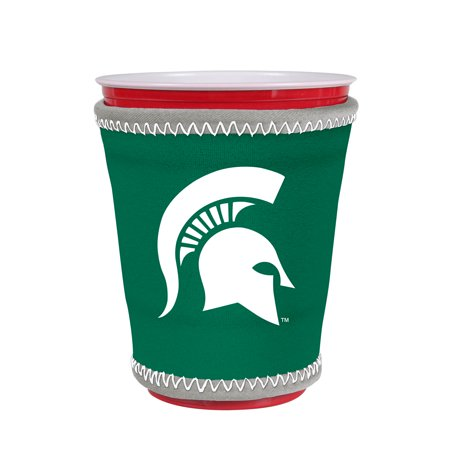 Kolder NCAA Logo Coolie Cup Holder Sleeve Fitting Plastic Cups, Pint Glasses, Coffee Cups, Ice Cream, Etc. - Neoprene and Bottomless (Michigan State Spartans)