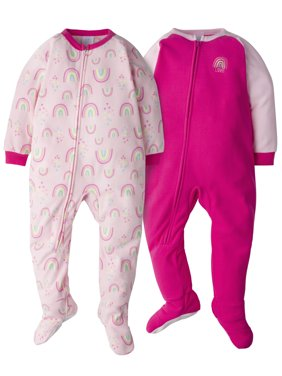 Gerber Toddler Girl Microfleece Blanket Sleeper Pajamas, 2-Pack