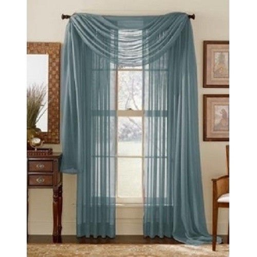 """1 PC SOLID SLATE BLUE Hotel High Quality Elegant Window-Sheer Scarf Valance swag topper (37"""" x 216"""") by"""