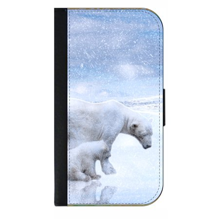 Polar Bears in the Snow - Wallet Style Cell Phone Case with 2 Card Slots and a Flip Cover Compatible with the Apple iPhone 6 Plus and 6s Plus Universal