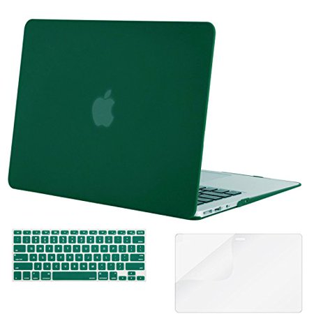 Mosiso Plastic Hard Case with Keyboard Cover with Screen Protector for MacBook Air 13 Inch (Models: A1369 & A1466,2010-2017 Year), Peacock Green