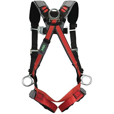 Chest D-rings - MSA 10105949 EVOTECH Harness with Back, Hip and Chest D-Rings, Qwik-Connect Leg Straps/Chest Strap, Shoulder and Leg Padding, X-Large