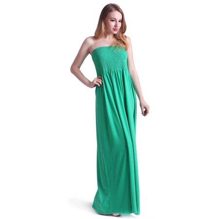 HDE Women\'s Strapless Maxi Dress Tube Top Long Skirt Sundress Cover Up