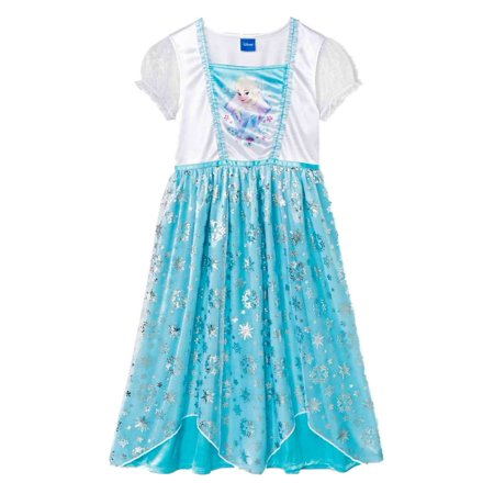 Frozen Girls Blue Sparkle Queen Elsa Nightgown Satin Night Gown Nighty (Elsa Frozen Gown)
