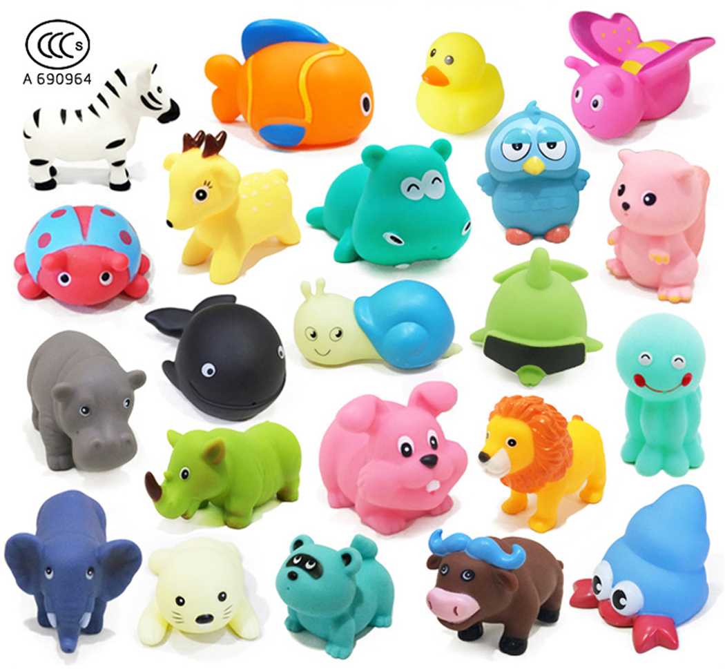 Outgeek 10Pcs Cute Baby Bath Toy Environmental Animal Toy Set Children's Toy with Sound Birthday Christmas Toys Gift for Baby Kids Girls Boys(Random)