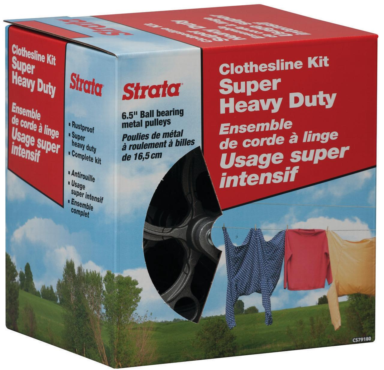 Strata Ben-Mor CS79180 Super Heavy Duty Clothesline Kit, Galvanized Steel Cable