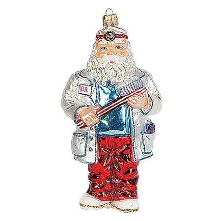 Dentist Santa Polish Mouth Blown Glass Christmas Ornament Tree Decoration