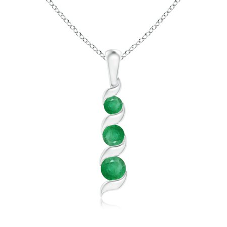 Mother's Day Jewelry - Channel-Set Round Emerald Three Stone Journey Pendant in 14K White Gold (4mm Emerald) - (14k White Gold Journey Pendant)