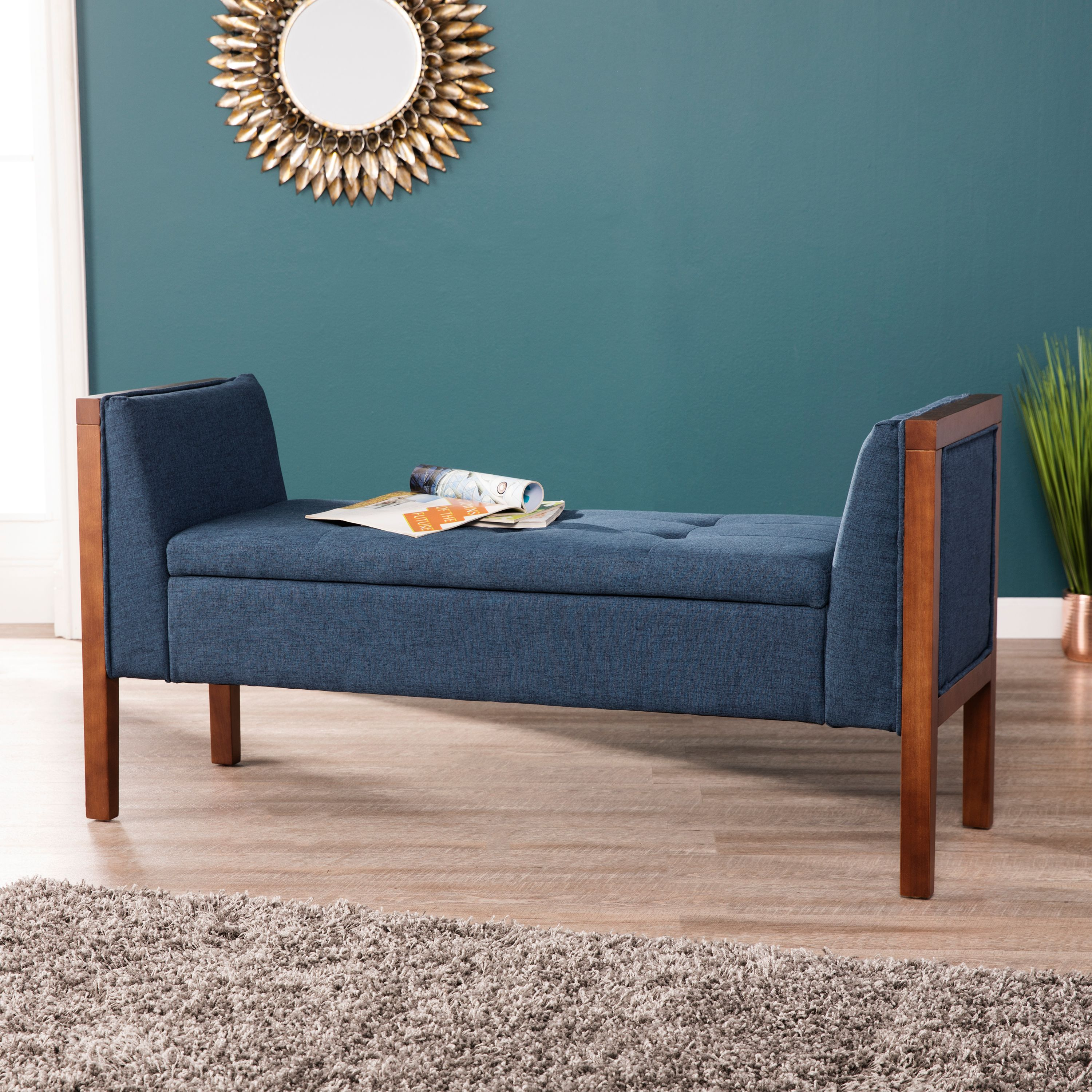 Transitional Foyer Hallway: Letto Upholstered Entryway Bench, Transitional Style, Blue
