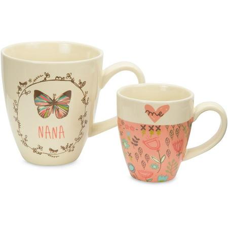 Pavilion - Nana & Me Ceramic Coffee Tea Mug Set with Pink Floral Butterfly Designs (Floral Design Ceramic)