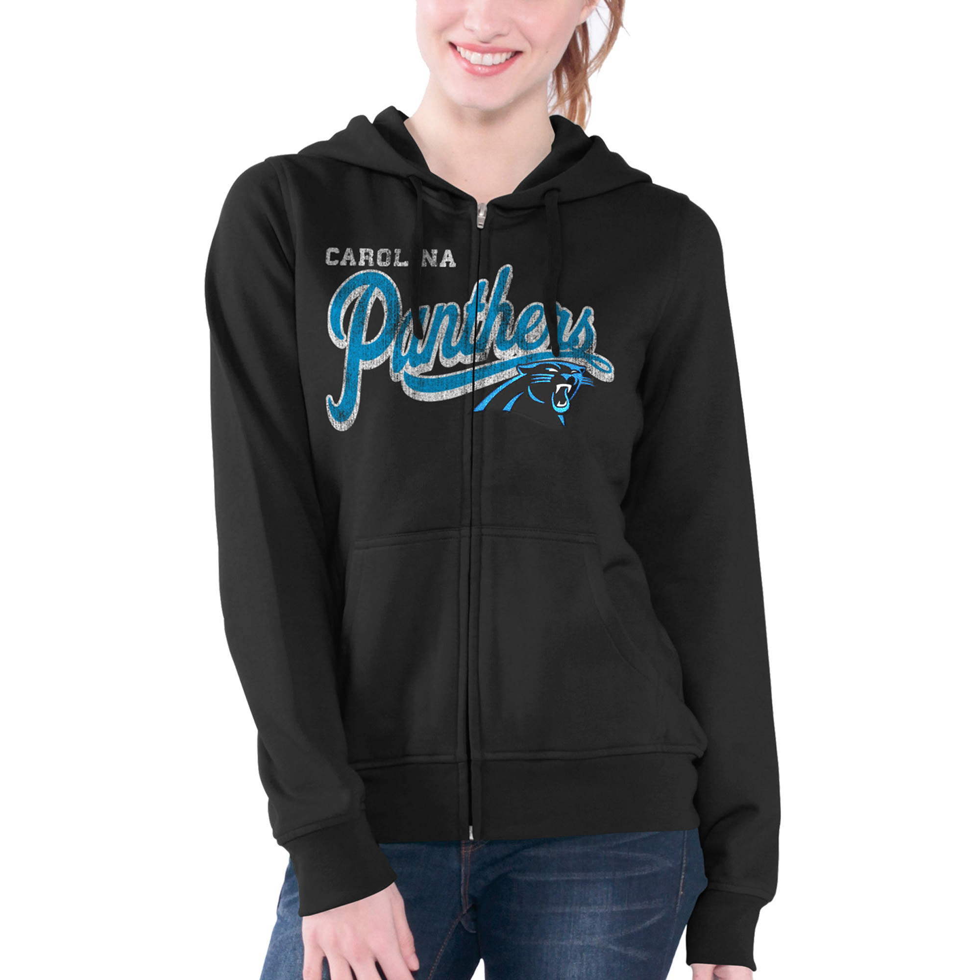 Carolina Panthers G-III 4Her by Carl Banks Women's Wildcat Full Zip Hoodie - Black