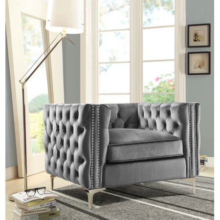 Chic Home Monet Velvet Modern Contemporary Button Tufted with Silver Nail head Trim Silver tone Metal Y-leg Club Chair, Grey ()