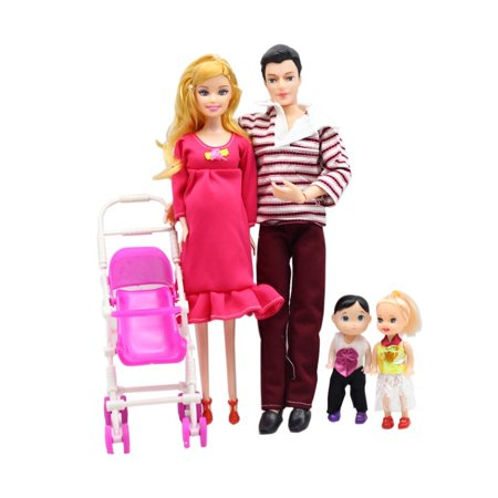 Doll Family 5 People Dolls Suit Pregnant Doll Family Mom+Dad+Baby Son+2 Kids+Baby Carriage, Baby Toy, Gifts for Girl