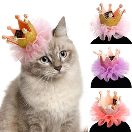 Legendog Dog Hair Clip Set Cute Lace Pearl Crown Headdress Pet Accessories Supplies For Cat Birthday Party