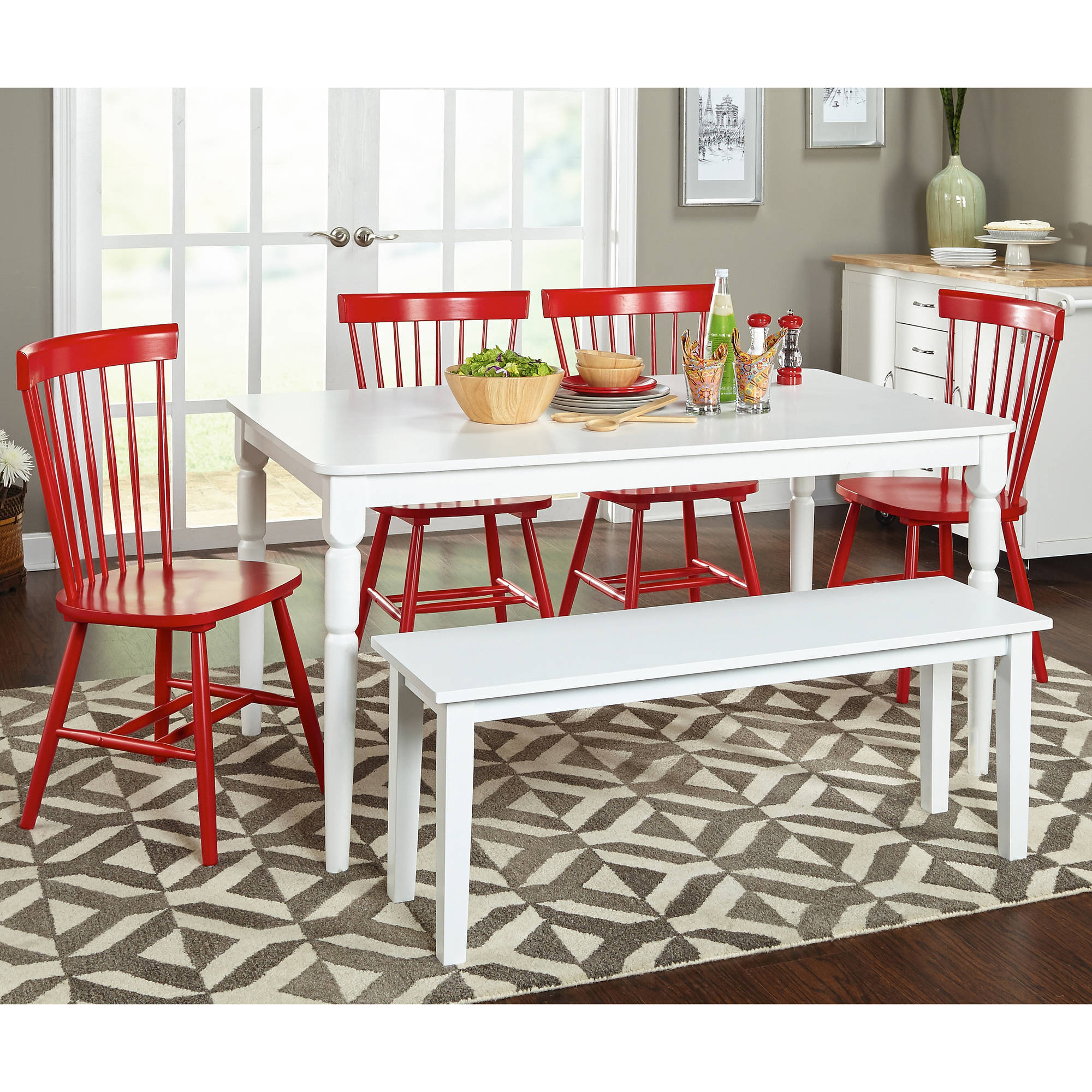 Venice 6-Piece Dining Set with bench, Multiple Colors