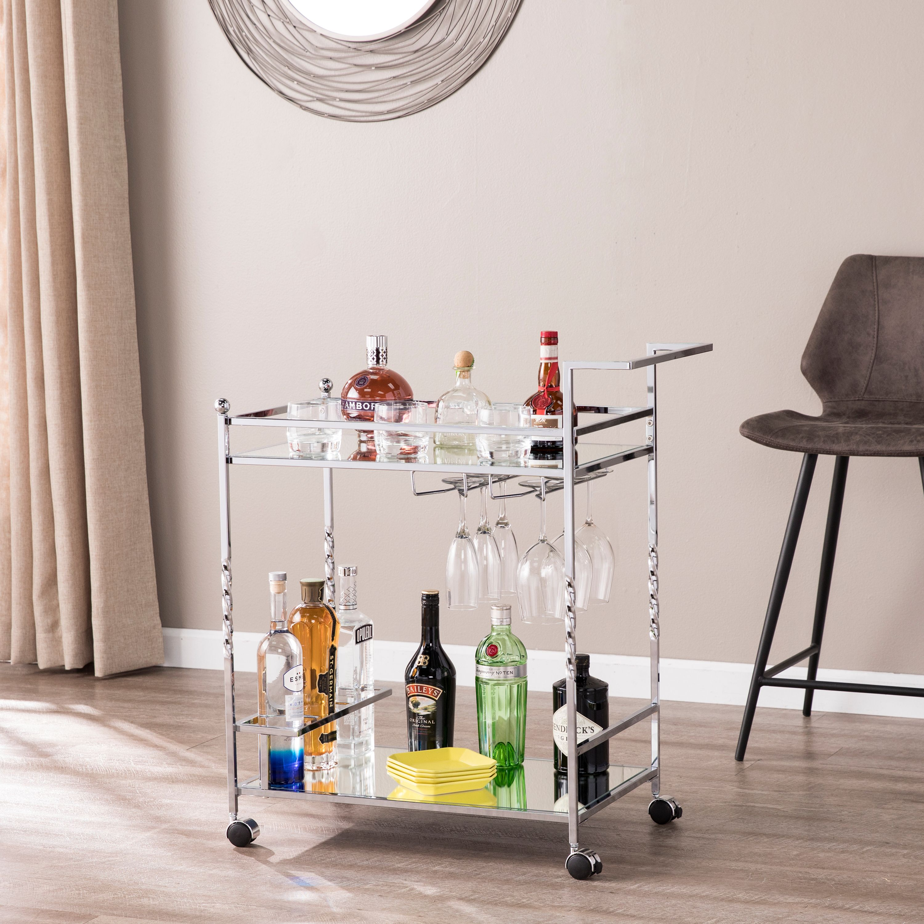 Ihoa Metal Mirrored Bar Cart, Chrome