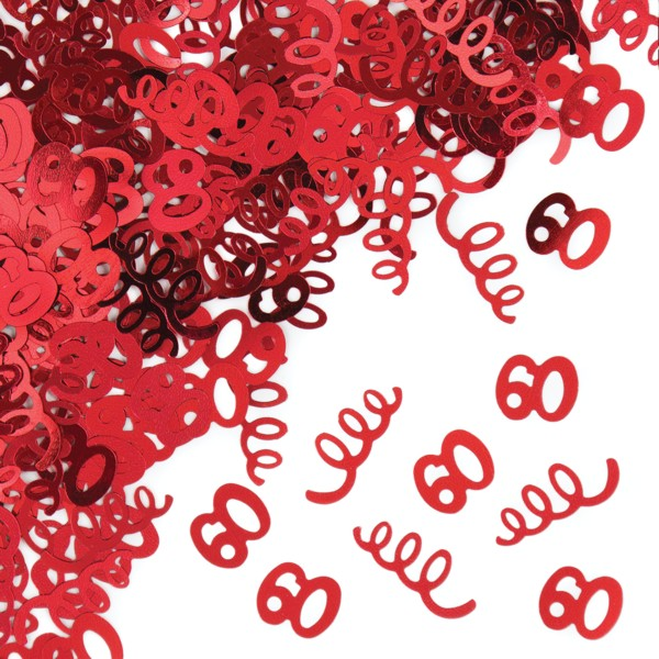 60th Birthday Party Red Confetti