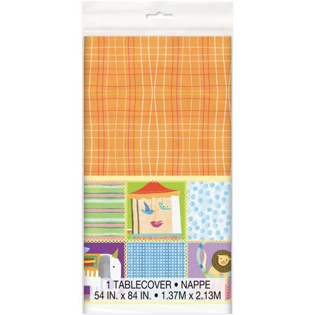 Circus Baby Shower Plastic Tablecloth, 84 x 54 in, 1ct