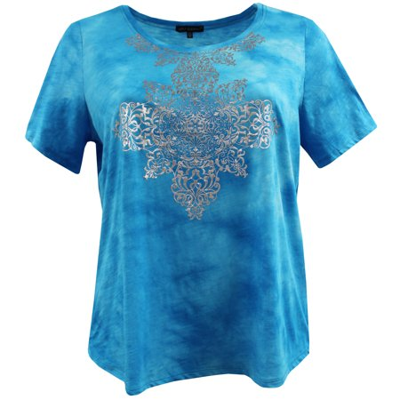 b8f68d9385af13 Dreamer P - Plus Size Women Short Sleeve 100% Cotton Tie Dye Knit Blouse  Tee T Shirt Top Blue 3X (16050) - Walmart.com