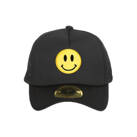 Smiley Face Black Adjustable Trucker Hat Black Adjustable Trucker Hat