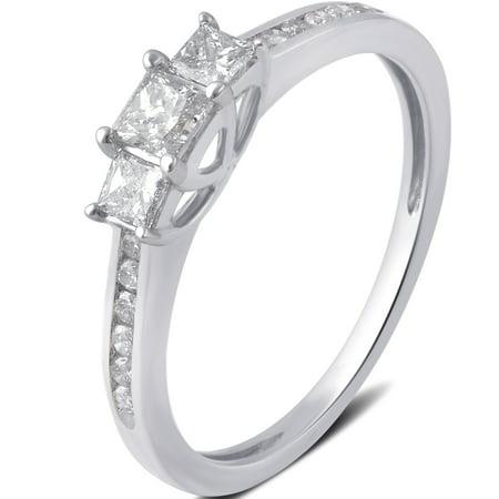 1 2 Carat T W  3 Stone Princess Diamond 10K White Gold Engagement Ring