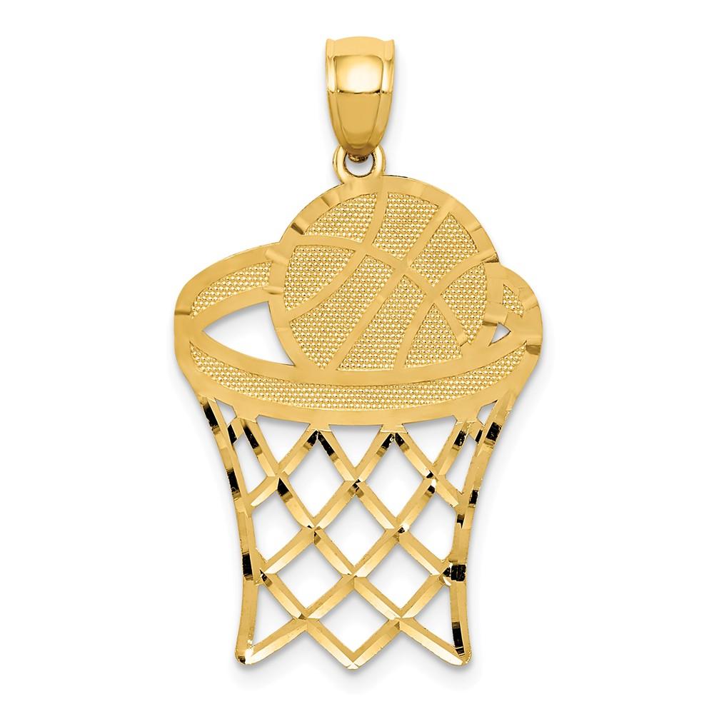 14k Yellow Gold Basketball in Hoop D/C Pendant