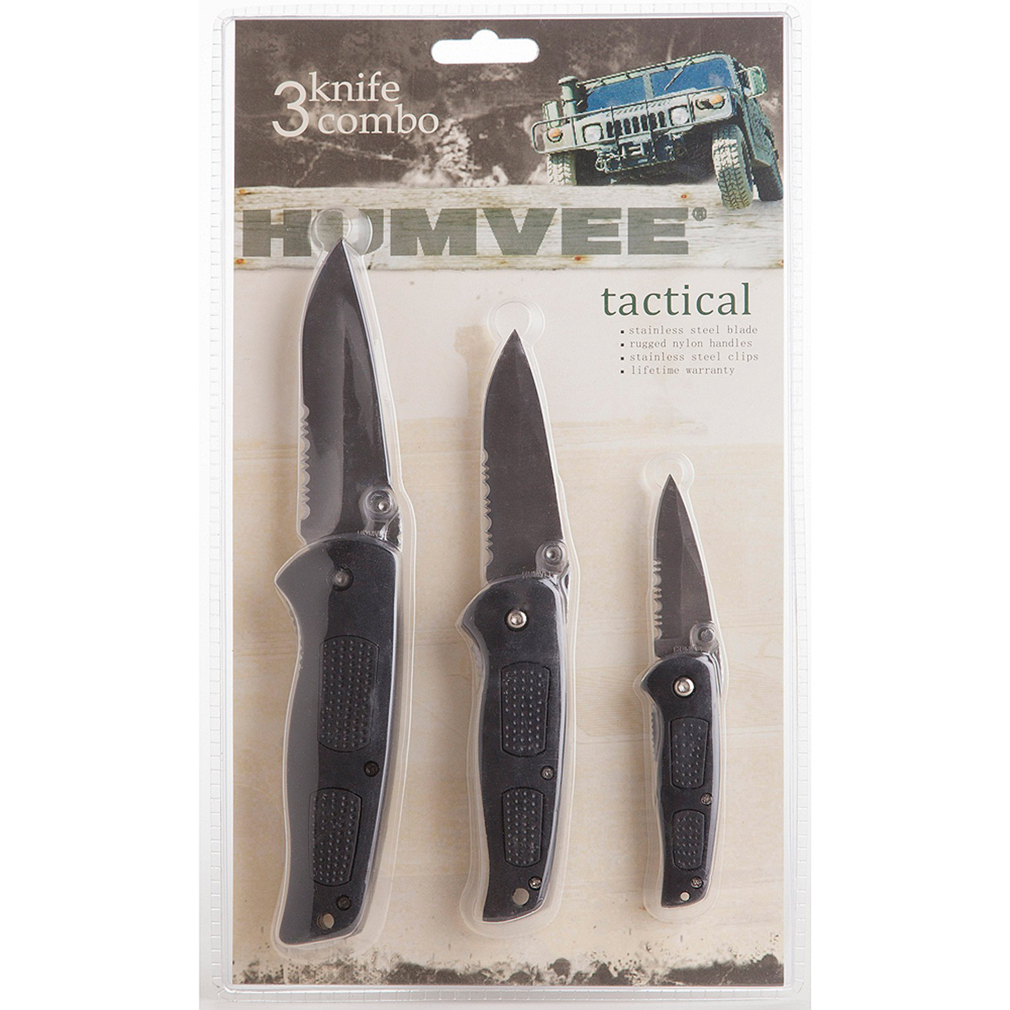 Humvee 3 Tactical Knife Combo Set, Partial Serrated