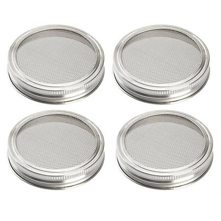 Uarter Sprouting Jar Lid Kit Stainless Steel Strainer Lid Set Rustproof Canning Jar Lids for Wide Mouth Jars, Set of 4