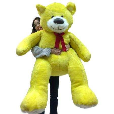 5 Foot Super Soft Yellow Teddy Bear Big Plush 60 Inch Large Stuffed Animal Made in USA Super Big Bear Plush