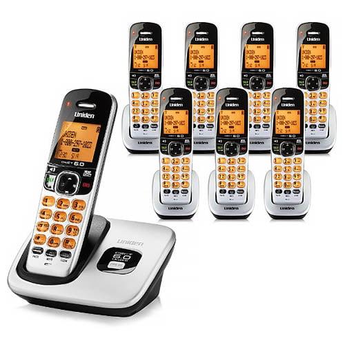 Uniden D1760-8 Cordless Phone w  Trilingual Menu Support & 7 Extra Handsets by Uniden