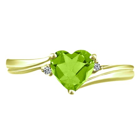 1.06 tcw Heart Cut Natural Peridot & Round Cut Natural Diamond Ring 10k Yellow Gold