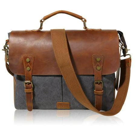 Lifewit Vintage Leather Messenger Bag Canvas Shoulder Military Travel Men 14