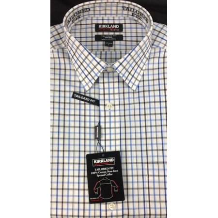 KIRKLAND Tailored Fit Non Iron Plaid Blue/Brown/Olive Shirt 16.5 - 32/33 - NEW