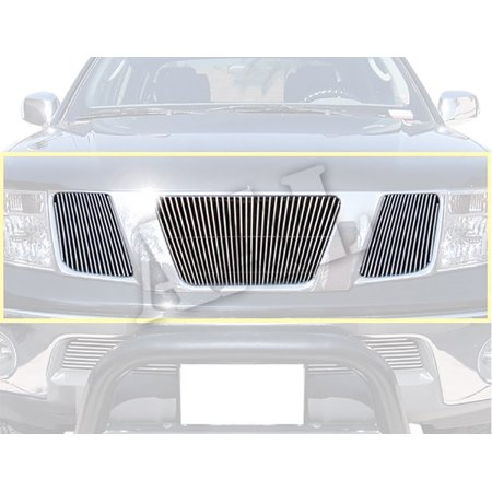 Aluminum Grille Billet Car Grill - AAL REPLACEMENT BILLET GRILLE / GRILL INSERT For 2005 2006 2007 2008 NISSAN FRONTIER 3PCS UPPER BOLTON LOGO COVERED